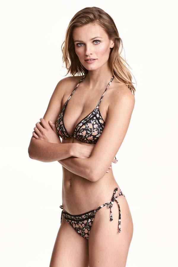 Τριγωνάκι μαγιό bikini με κορδονάκι και φλοράλ print - H&M