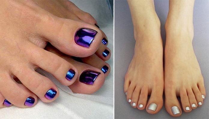 Μεταλλικές αποχρώσεις στα νύχια ποδιών