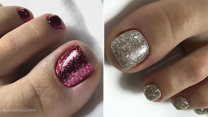 Χρυσά και κόκκινα νύχια ποδιών με glitter