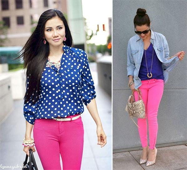 Στυλάτα σύνολα με ροζ και μπλε ρούχα