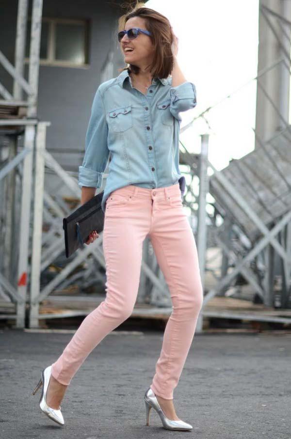 Τζιν πουκάμισο με ροζ skinny jean