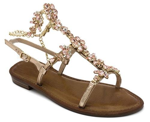 Ροζ χρυσά σανδάλια με στρας και αλυσίδα που δένει στον αστράγαλο - Migato