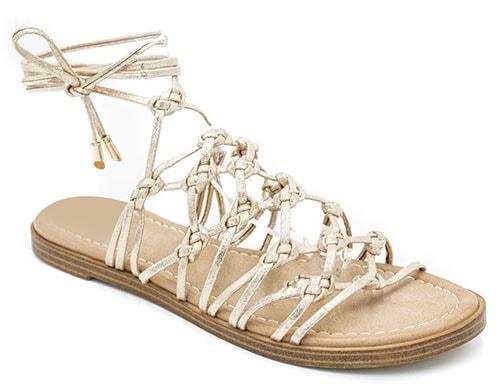 Χρυσά σανδάλια lace up gladiator - Migato
