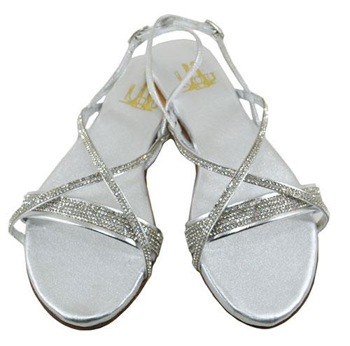 Ασημένια νυφικά σανδάλια με στρας - Lou Shoes