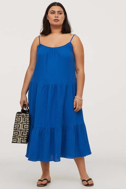 Μίντι μπλε ρουά φόρεμα για παχουλές - Η&Μ
