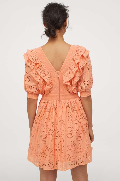 Μίνι πορτοκαλί γκιπούρ φόρεμα με βολάν και φουσκωτά μανίκια - H&M