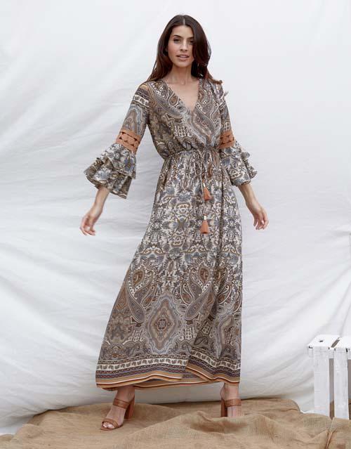 Boho καλοκαιρινό φόρεμα με βολάν στα μανίκια και σούρωμα στη μέση - Lynne