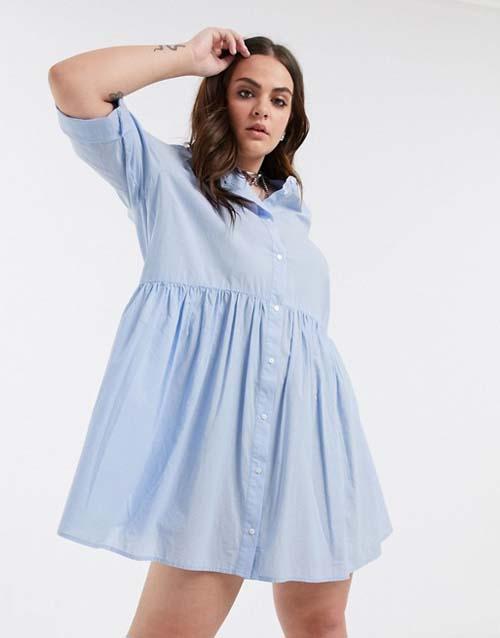Κοντό γαλάζιο πουκάμισο φόρεμα για γυναίκες με καμπύλες - ASOS / Only