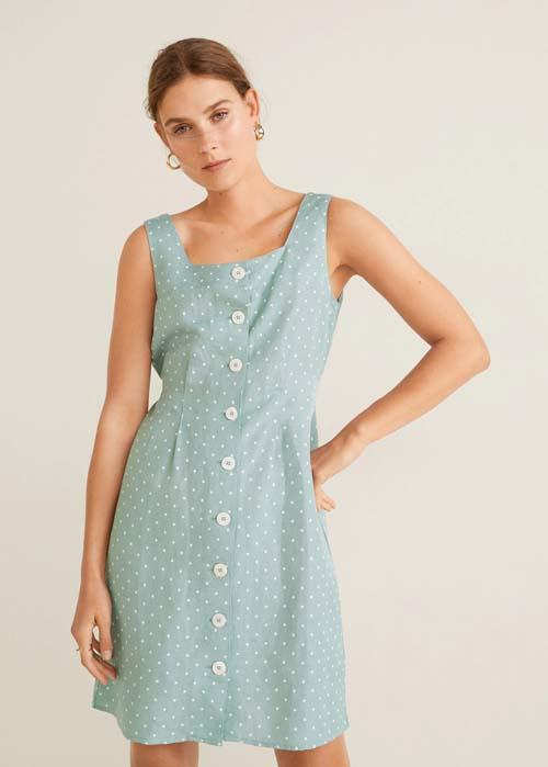 Φιστικί πουά λινό κοντό φόρεμα με κουμπιά - MANGO