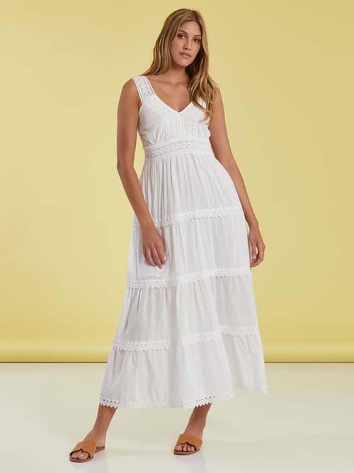Άσπρο μακρύ φόρεμα με κεντημένες λεπτομέρειες - Celestino