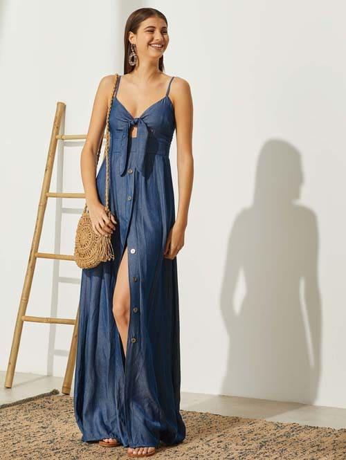 Τζιν shirt dress με φιόγκο και άνοιγμα στο στήθος - the Fashion Project