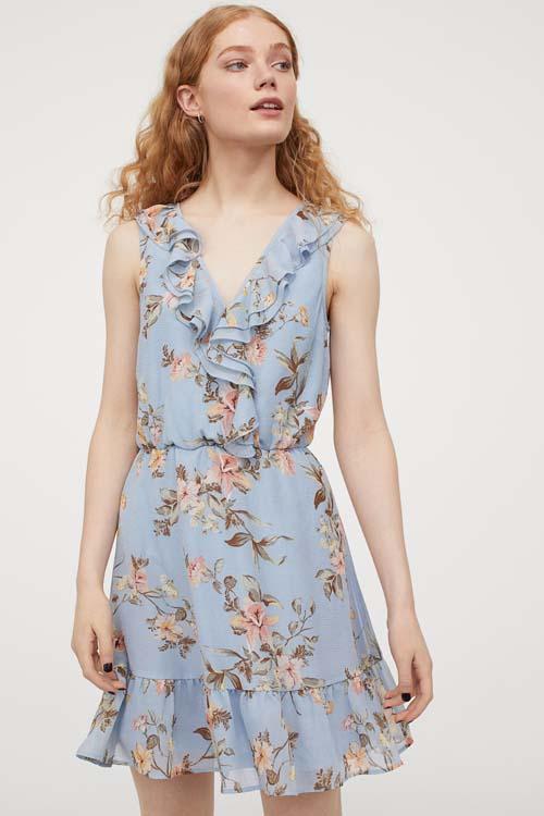 Floral mini φόρεμα με βολάν στο στήθος - H&M