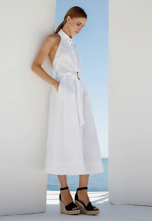 Άσπρο λινό εξώπλατο μίντι φόρεμα με ζώνη και γιακά πουκαμίσου - Zini