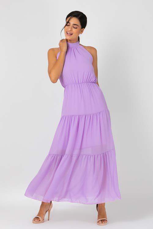 Μακρύ λιλά φόρεμα που δένει στο λαιμό - Owtwo