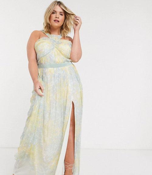 Μάξι βραδινό φλοράλ φόρεμα με σκίσιμο για παχουλές - ASOS / Anaya With Love