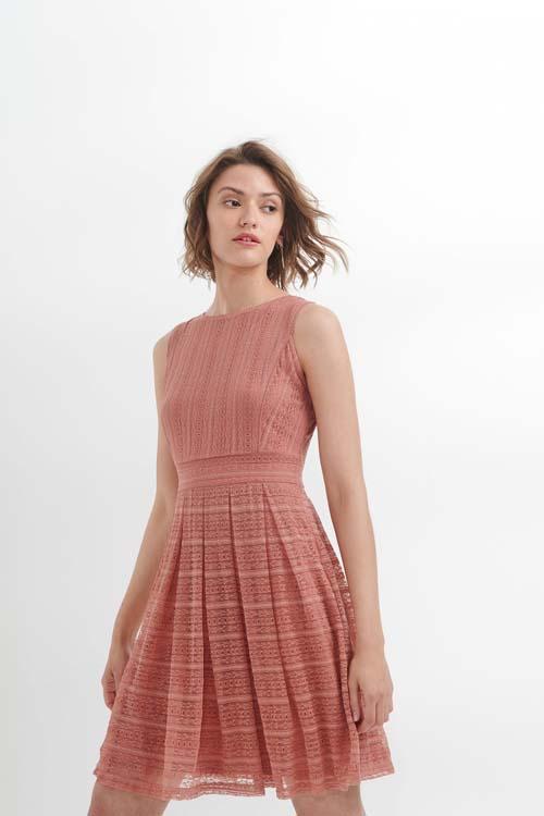 Κοντό αμάνικο δαντελένιο φόρεμα - Attrativo