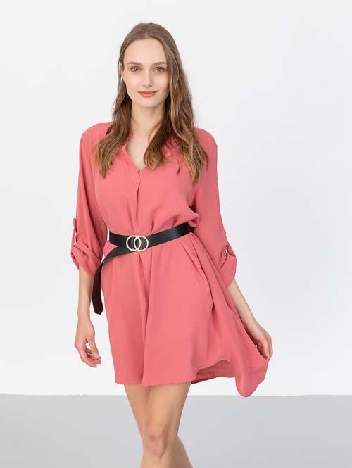 Ασύμμετρο μίντι αέρινο φόρεμα με ζώνη - the Fashion Project