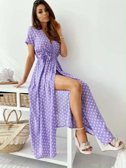 Ντραπέ αέρινο μάξι φόρεμα σε λιλά πουά σχέδιο - fashionroom.gr