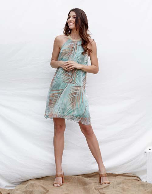Halter καλοκαιρινό φόρεμα με tropical print - Lynne