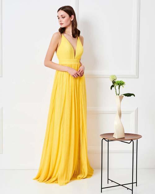 Αρχαιοελληνικό μακρύ κίτρινο φόρεμα - Forel