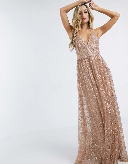 Μάξι αμπιγιέ φόρεμα με ροζ χρυσές παγιέτες - ASOS / Goddiva