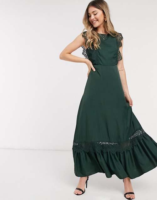 Πράσινο σκούρο μακρύ σατέν φόρεμα με λεπτομέρειες δαντέλας - ASOS / Object