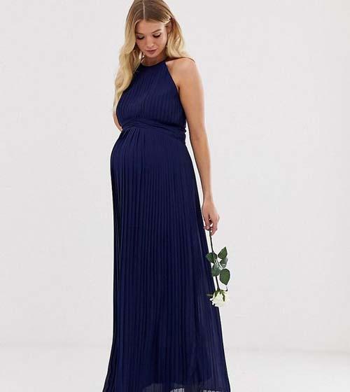 Μάξι πλισέ μπλε σκούρο φόρεμα εγκυμοσύνης σε αρχαιοελληνικό στυλ - ASOS / TFNC