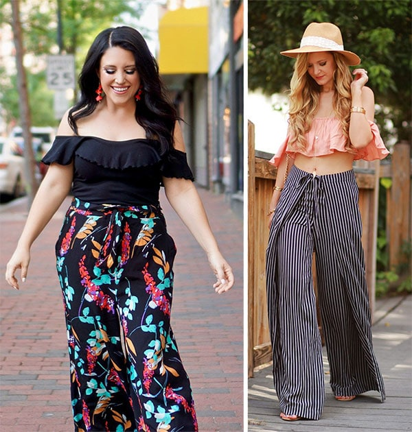 Printed γυναικεία παντελόνα με τοπ που έχει έξω τους ώμους
