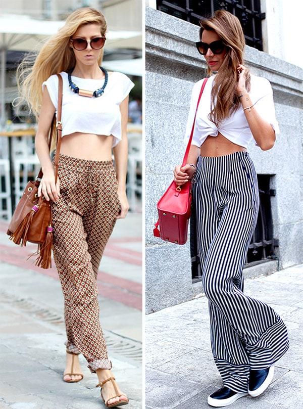 Σύνολο με παντελόνα και crop top ή t-shirt δεμένο μπροστά