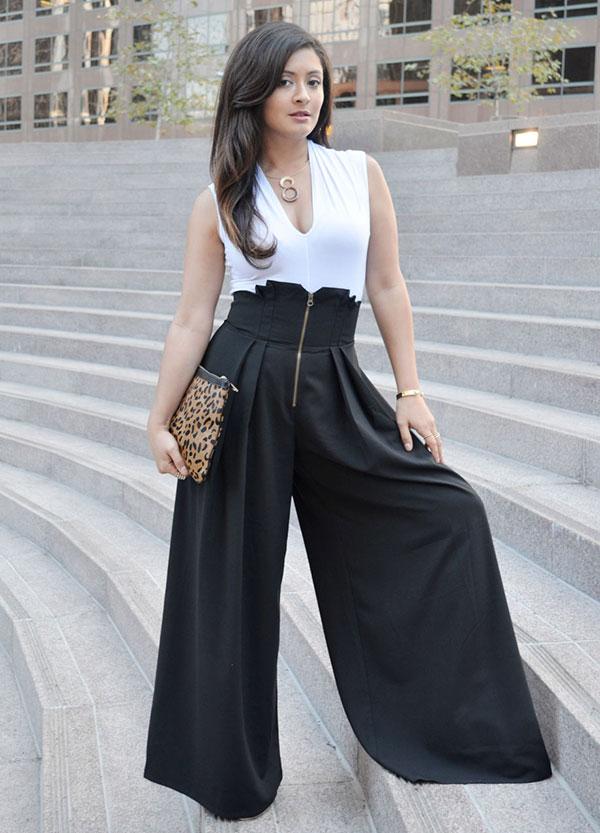 Νεανικός συνδυασμός με μαύρη ψηλόμεση παντελόνα και λευκό τοπ