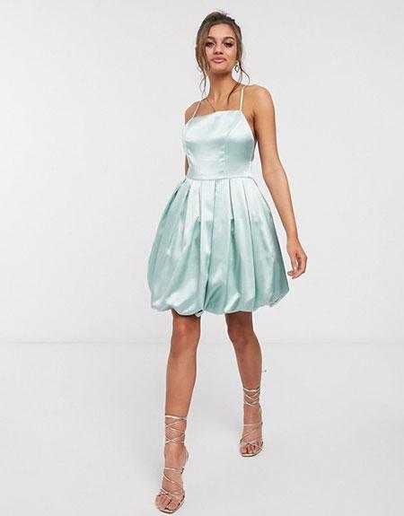 Mini balloon σατέν βραδινό φόρεμα