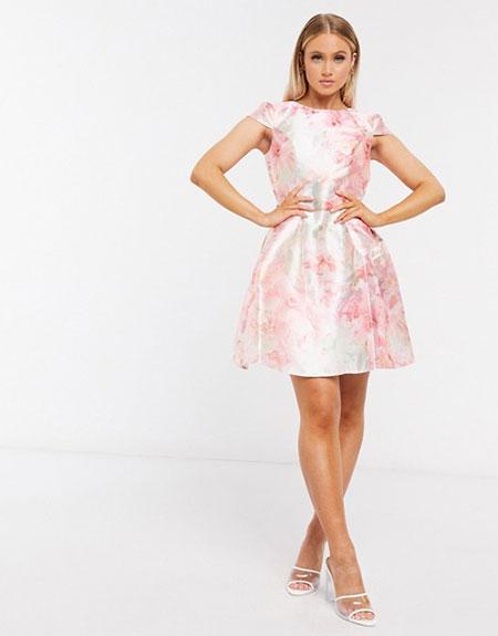 Floral mini βραδινό κοκτέιλ φόρεμα