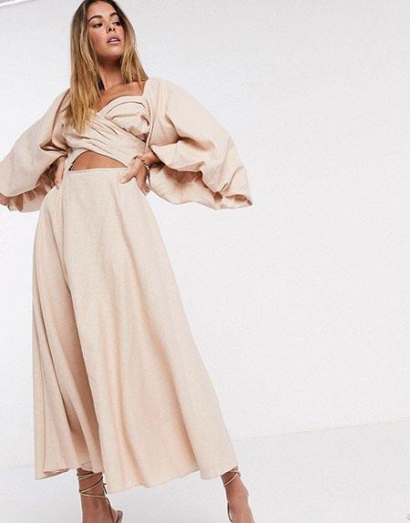 Λινό μίντι φόρεμα με άνοιγμα στην κοιλιά και φουσκωτά μανίκια