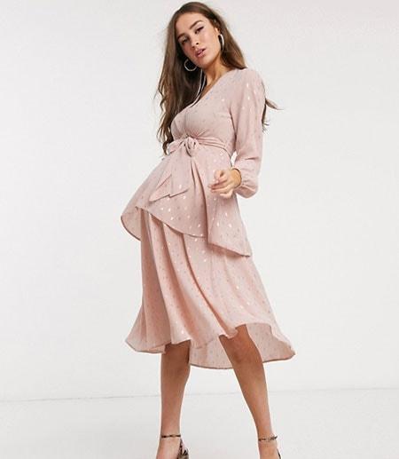 Μίντι βραδινό φόρεμα εγκυμοσύνης με ζώνη κάτω από το στήθος