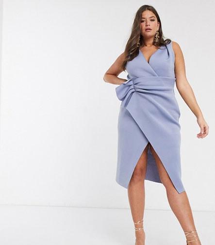 Βραδυνό ντραπέ φόρεμα μέχρι το γόνατο για παχουλές