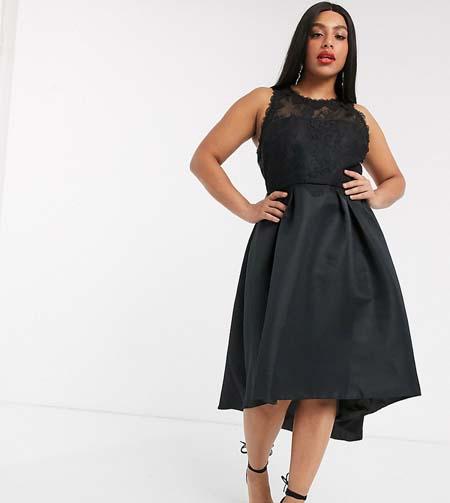 Μαύρο ασύμμετρο σατέν φόρεμα με δαντέλα στο μπούστο