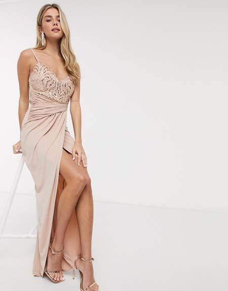 Μάξι βραδυνό φόρεμα / τουαλέτα για γάμο με κεντητό μπούστο