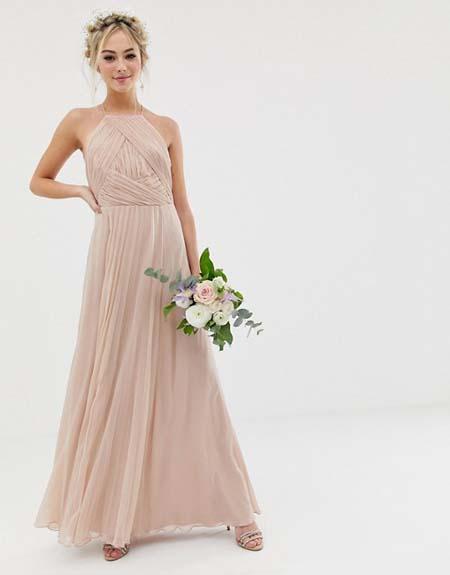 Αρχαιοελληνικό halter βραδινό φόρεμα για γάμο
