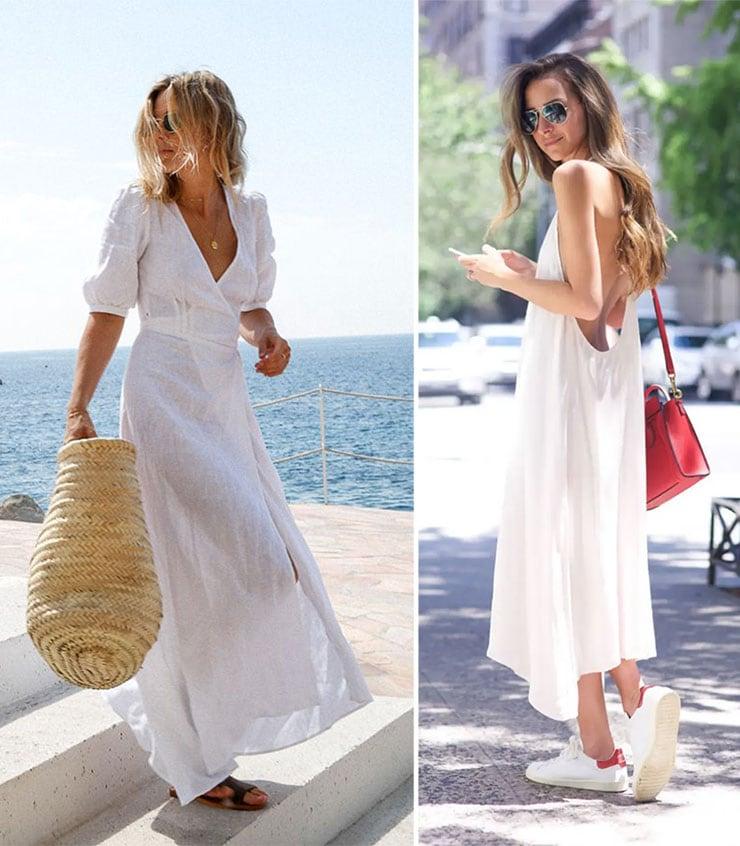 Λευκά καλικαιρινά μακριά φορέματα