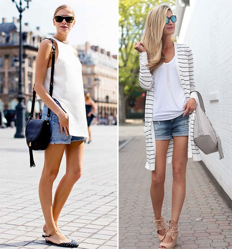 Street style ντυσίματα με τζιν σορτσάκι