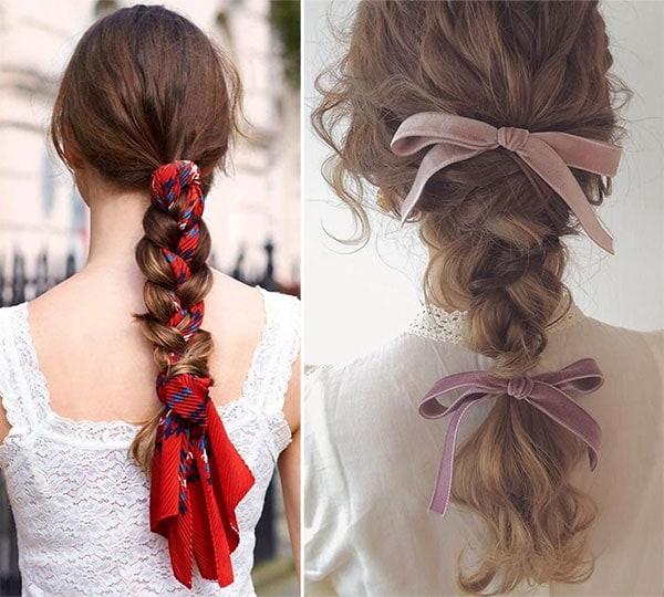 Πλεξούδα για σγουρά μαλλιά στολισμένη με κορδέλα