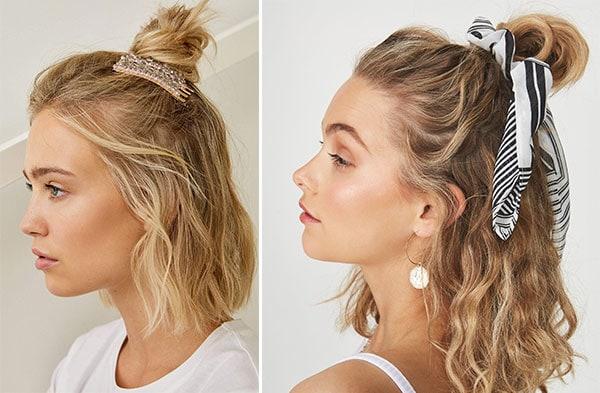 Top knot σε κοντά / μεσαία σγουρά μαλλιά