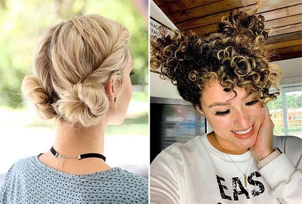 Καλοκαιρινά space buns για σγουρά μαλλιά