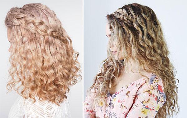 Χτενίσματα για σγουρά μαλλιά με πλεξούδα στο πλάι