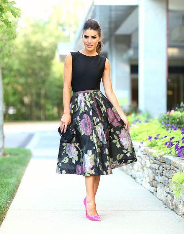 Midi φλοράλ φούστα με μαύρο αμάνικο τοπ