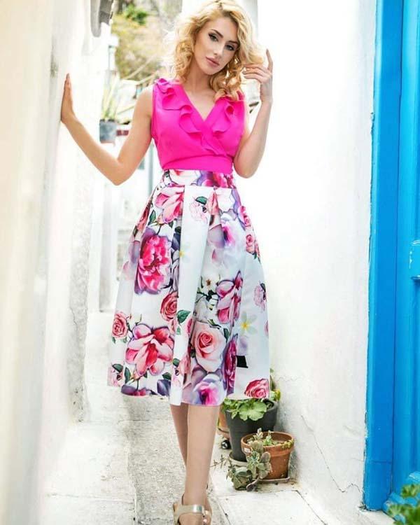 Αμάνικη φούξια μπλούζα με βολάν και φλοράλ μίντι ψηλόμεση φούστα