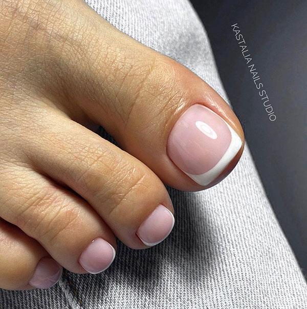 Ροζ νυφικά νύχια ποδιών γαλλικό