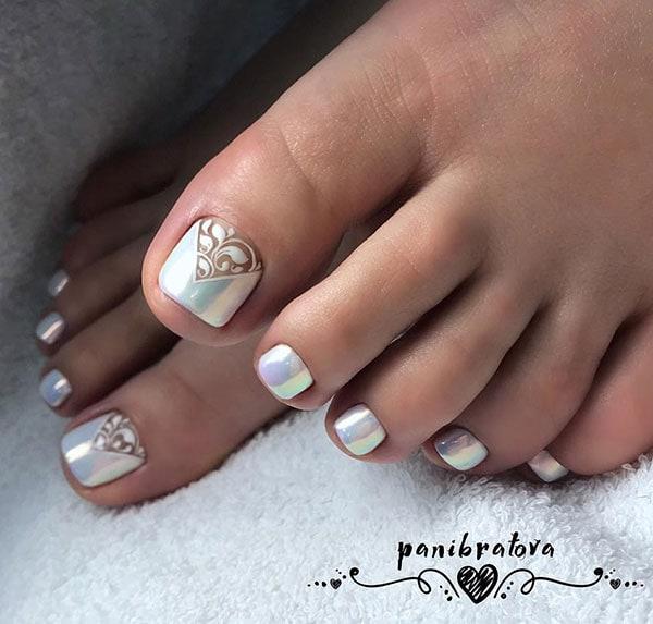 Περλέ νυφικά νύχια ποδιών με σχέδιο δαντέλας