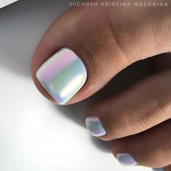 Holographic λευκά νύχια ποδιών για νύφη