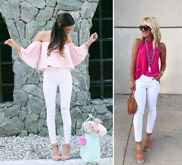 Χαλαρό και κομψό ντύσιμο με λευκό τζιν ή παντελόνι